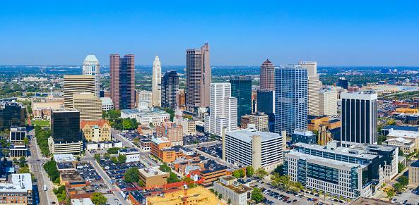 Columbus Ohio downtown Aerial view